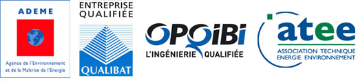Entreprise qualifiée par L'ADEME, Qualibat, ATEE, Opqbi